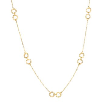 14K Gold Double Circle Station Necklace