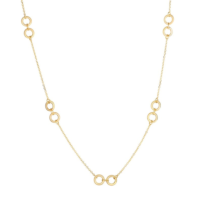 Royal Chain 14K Gold Double Circle Station Necklace