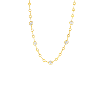 18K GOLD & DIAMOND NEW BAROCCO 11 ROUND STATION NECKLACE