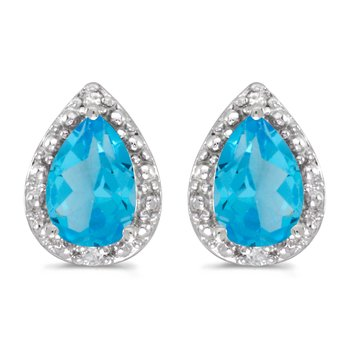 10k White Gold Pear Blue Topaz And Diamond Earrings