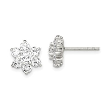 Sterling Silver CZ Flower Post Earrings