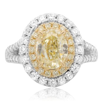 Double Halo Fancy Yellow Diamond Ring