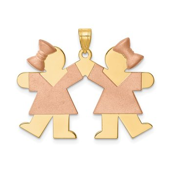 14k Two-Tone Large Double Girls Engravable Charm