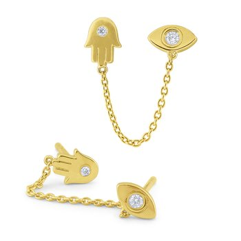 14k Gold and Diamond Eveil Eye / Hamsa Single Earring