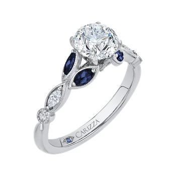18K White Gold Round Diamond Engagement Ring with Sapphire (Semi-Mount)