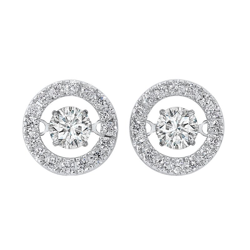 Gems One 14K White Gold Rhythm of Love Halo Prong Diamond Earrings (1 ct. tw.)