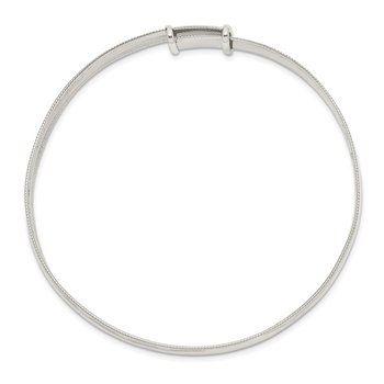 Sterling Silver Polished Milgrain 7mm Expandable Bangle