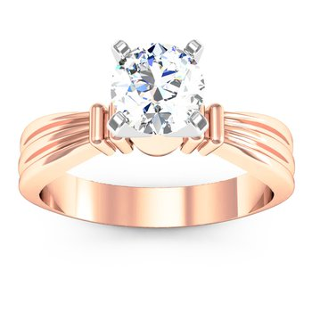 Ridged Solitaire Engagement Ring