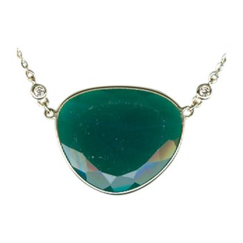 Green Agate Necklace in Yellow Gold with Diamonds