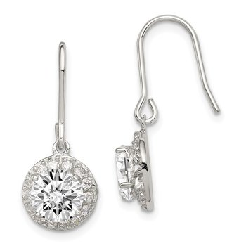 Sterling Silver Rhodium-plated Round CZ Dangle Earrings
