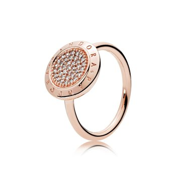 PANDORA Signature Ring, PANDORA Rose™ & Clear CZ