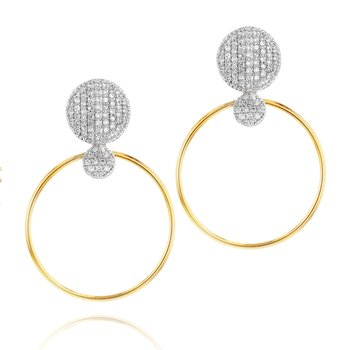 Yellow gold diamond Infinity grand loop earrings