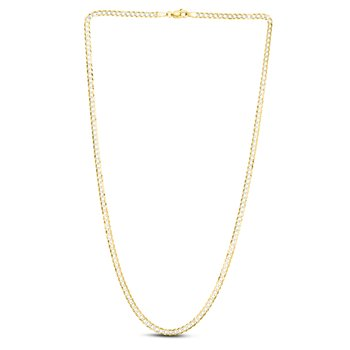 14K Gold 3.2mm White Pave Curb Chain