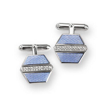 Sterling Silver Hexagon Cufflink-Blue. White Sapphires