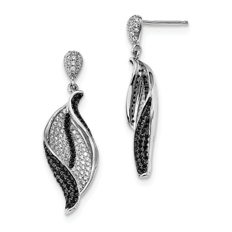 Quality Gold Sterling Silver & CZ Brilliant Embers Dangle Post Earrings