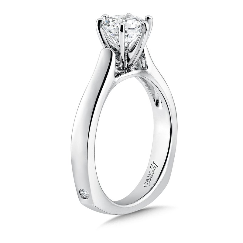 Caro74 Classic Elegance Collection Six-Prong Solitaire Engagement Ring in 14K White Gold with Platinum Head (1ct. tw.)