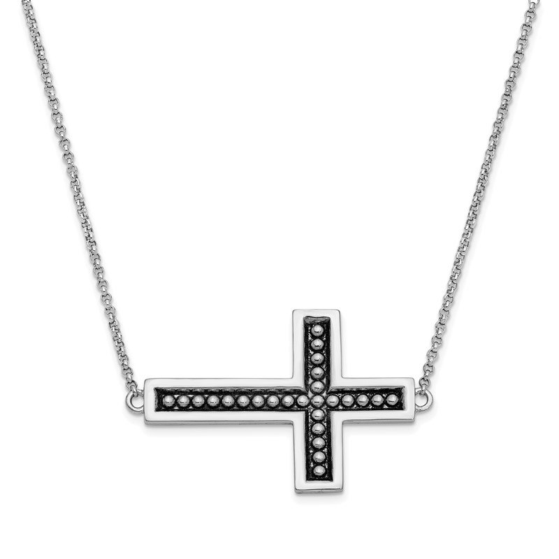 Quality Gold Sterling Silver Antiqued Cross 17.5in. Necklace w/ 3/4in. ext
