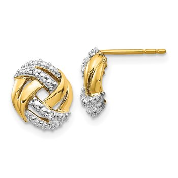 14k Diamond w/Rhodium Accents Round Post Earrings