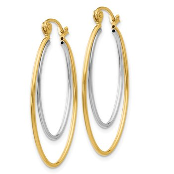 14K Two Tone Lightweight Hoop Earrings