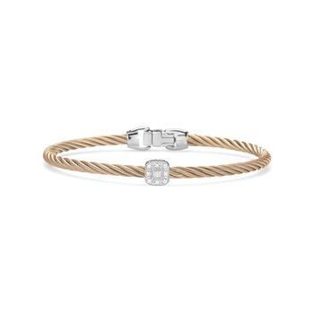 Carnation Cable Essential Stackable Bracelet with Single Square Diamond station set in 18kt White Gold