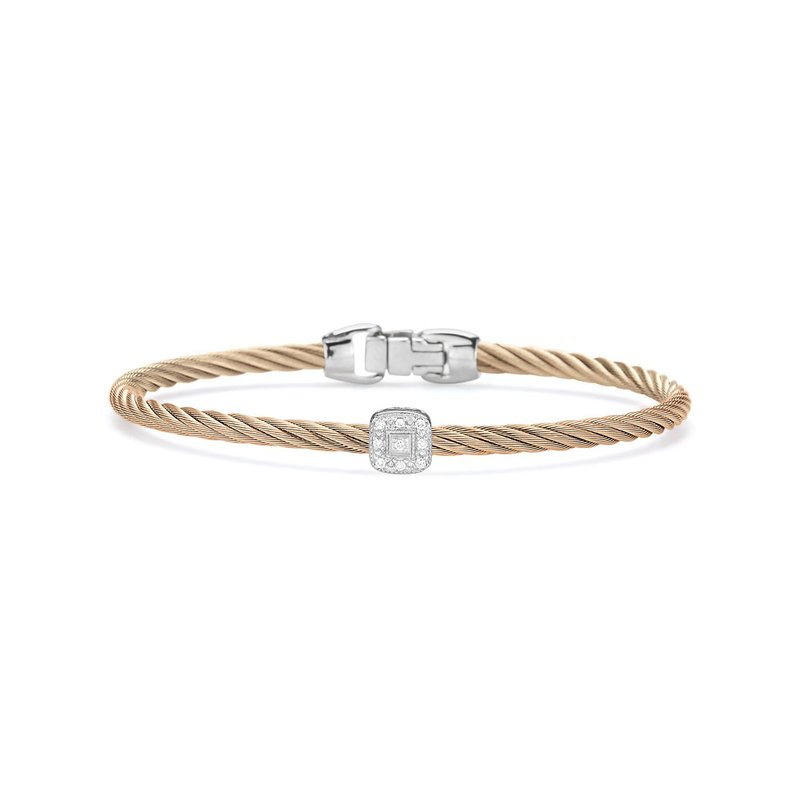 ALOR Carnation Cable Essential Stackable Bracelet with Single Square Diamond station set in 18kt White Gold