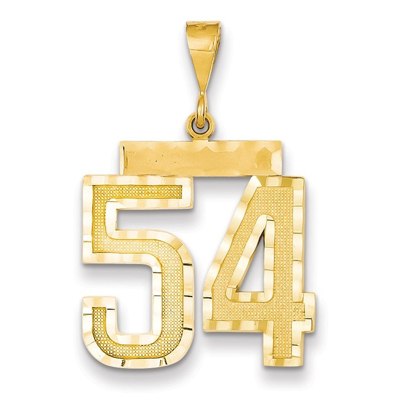 Quality Gold 14k Large Diamond-cut Number 54 Charm