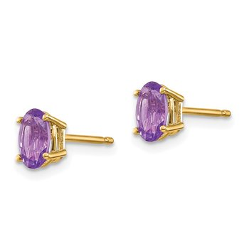 14k 6x4 Oval February/Amethyst Post Earrings