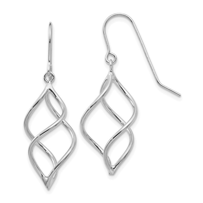 Quality Gold 14k White Gold Polished Short Twisted Dangle Earrings