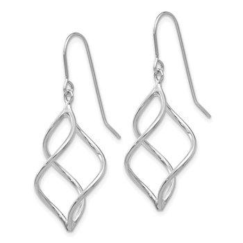 14k White Gold Polished Short Twisted Dangle Earrings