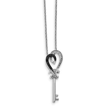 Sterling Silver Rhod Plated Black & White Diamond Heart Key Pendant Neck