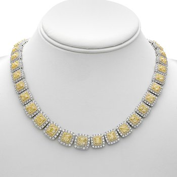 Two Tone Double Halo Diamond Necklace