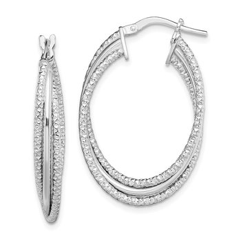 Sterling Silver Rhodium-plated Polished and Textured Triple Hoops