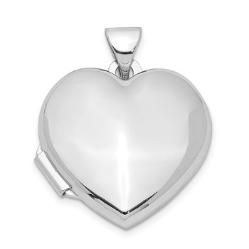 Sterling Silver Rhodium-plated Plain 18mm Heart Locket