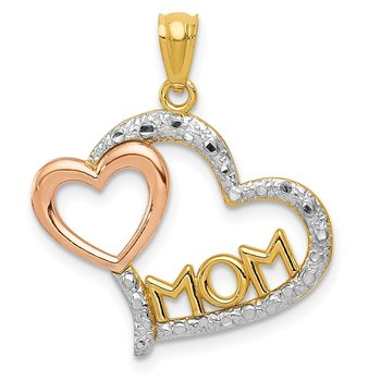 14k Two-tone w/White Rhodium Diamond-cut MOM in Heart w/Heart Pendant