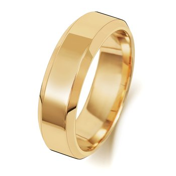 18Ct Yellow Gold 6mm Soft Court Bevelled Wedding Ring