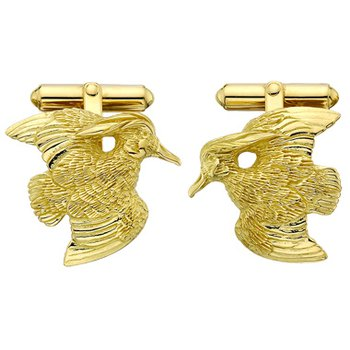 Wood Duck Cufflinks - Pair - 14kt Gold