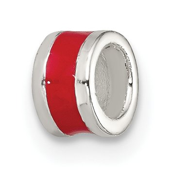 Sterling Silver Red Enameled Spacer Enhancer