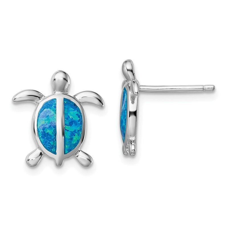 Quality Gold Sterling Silver Rhodium-plated Blue Created Opal Turtle Post Earrings