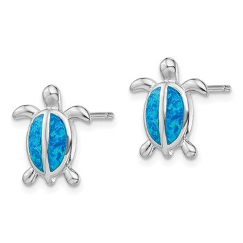 Sterling Silver Rhodium-plated Blue Created Opal Turtle Post Earrings