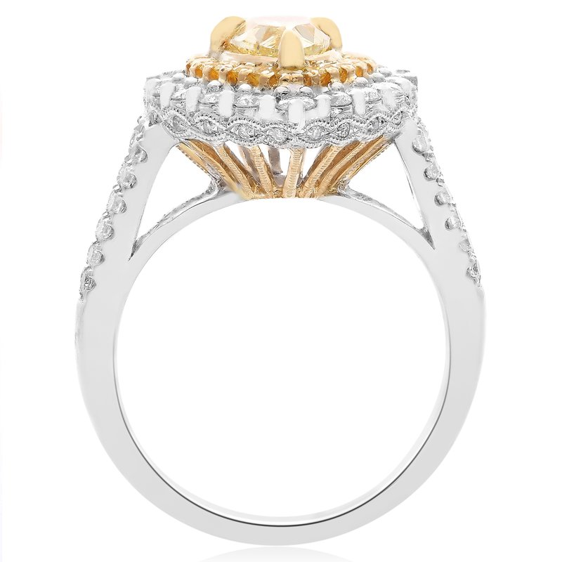 Roman & Jules Pear-shaped Fancy Yellow Double Halo Ring