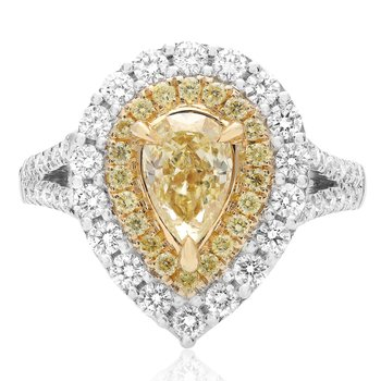 Pear-shaped Fancy Yellow Double Halo Ring