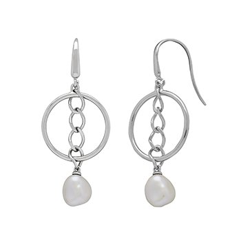 Honora Sterling Silver 9-10mm White Baroque Freswater Cultured Pearl Hoop Chain Drop Earrings