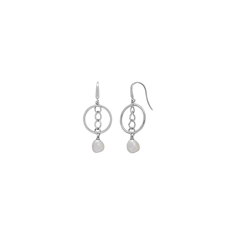 Honora Honora Sterling Silver 9-10mm White Baroque Freswater Cultured Pearl Hoop Chain Drop Earrings