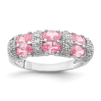 Sterling Silver Small Double Pink Oval CZ and Alternating CZ Bars Ring