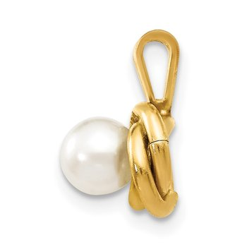 14k Madi K 4mm White Round Freshwater Cultured Pearl Love Knot Pendant