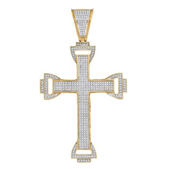 10kt Yellow Gold Mens Round Diamond Capital Cross Charm Pendant 1.00 Cttw