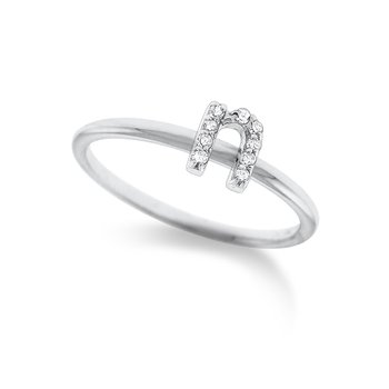 "Diamond Typewriter Initial ""N"" Ring"