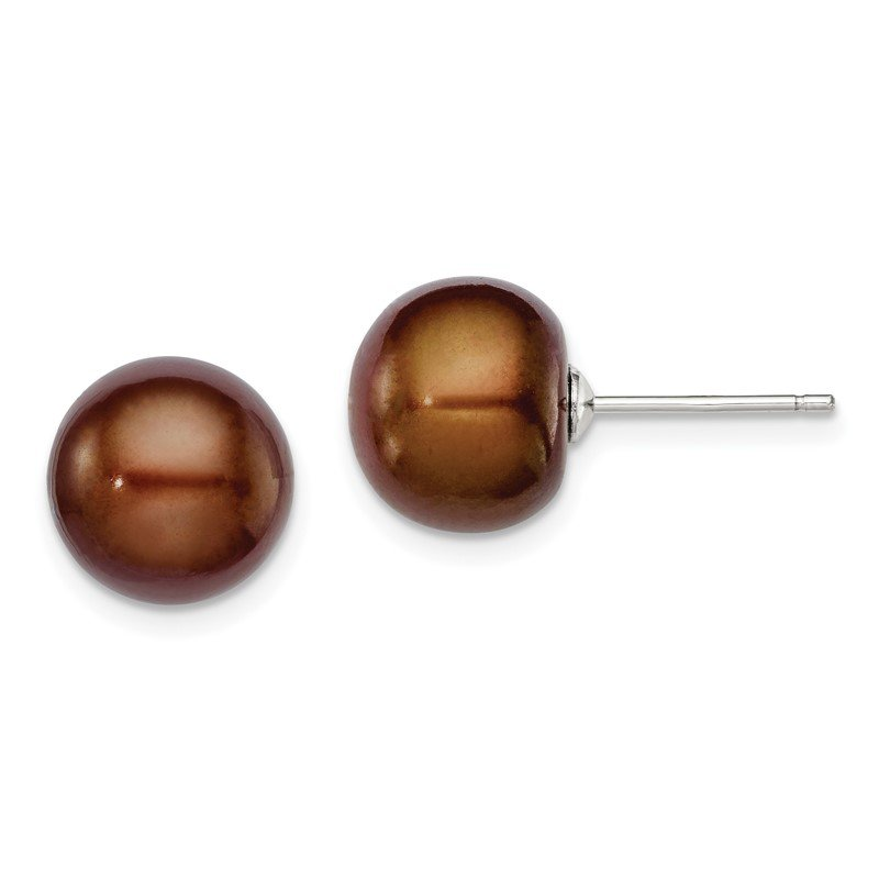 Quality Gold Sterling Silver Rh-plated 10-11mm Brown FWC Button Pearl Earrings