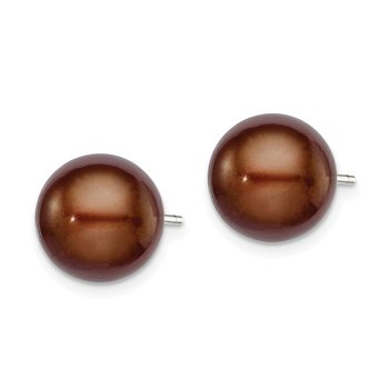 Sterling Silver Rh-plated 10-11mm Brown FWC Button Pearl Earrings