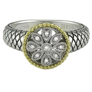 18kt and Sterling Silver Round Antique Flower Diamond Ring